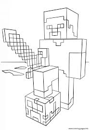 Small Picture Minecraft Steve With Diamond Sword Coloring Pages Printable