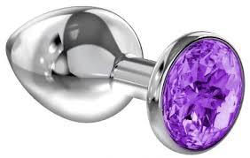 <b>Большая серебристая анальная пробка</b> Diamond Purple Sparkle ...