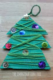 Kids Crafts For Christmas Yarn And Bead Christmas Tree Craft The Imagination Tree