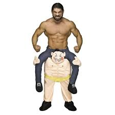 Adult Carry Me Weightlifter Halloween Costume Funny 3D Circus Strong Man  Pants