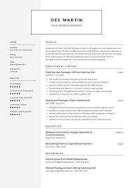 Food Service Skills Resume Food Services Manager Resume Templates 2019 Free Download