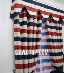 striped white red and blue color poly flocking country curtains no include valance