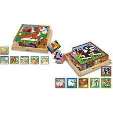 Melissa And Doug Wooden Games New Melissa Doug Wooden Cube Puzzles Set Pets And Farm Walmart