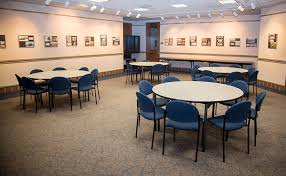 classroom setup with round tables