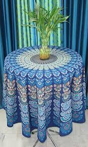 get ations india arts peacock mandala tablecloth 72 round 100 cotton blue mandala
