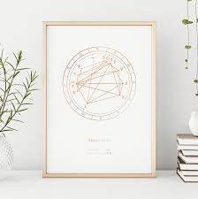 Etsy Birth Chart Personalised Natal Chart Art In Foil Astrology Chart By Birth Date Cool Print For Any Space To Mark Birth Date