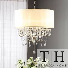 tribecca home silver mist hanging crystal drum shade chandelier