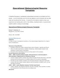 Cover Letter Operational Meteorologist Resume Sample Template With