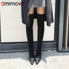 smirnova 2018 new arrival genuine leather thigh boots zipper shoes woman over the knee boots hot
