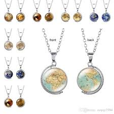 whole vintage rotating glass globe necklaces planet world map necklace art face glass round dome earth map pendant necklace ruby pendant necklace star