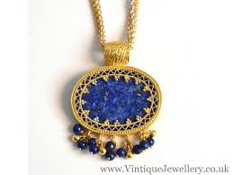 stunning frey wille 9ct gold and lapis lazuli byzantine design pendant