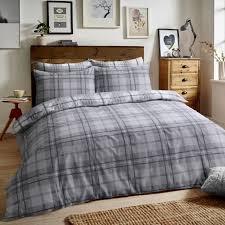 brushed cotton reversible flannel duvet quilt cover tartan check grey super king size 289263