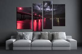 4 piece canvas wall art city artwork city bridge wall art red city on 4 piece wall artwork with 4 piece red city art bridge multi panel canvas