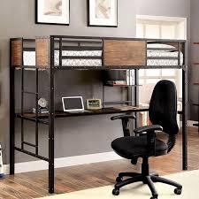 industrial inspired furniture. CM-BK029TD Clapton Collection Black Finish Metal Frame Industrial Inspired Style Twin Loft Workstation Bunk Bed Set Furniture F