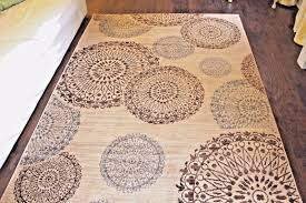 beautiful modern medallion wool blend area rug beige with brown light blue medallions