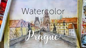 prague charles bridge painting watercolor cityscape timelapse