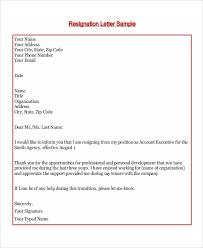 Formal Resignation Letter Example Resign Letter Sample 7 Examples In Word Pdf