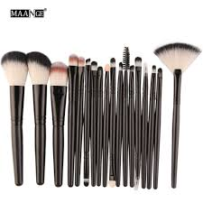 maange 18pcs set makeup brushes tools kit power foundation blush eye shadow blending fan cosmetic beauty make up brush maquiagem in makeup scissors from
