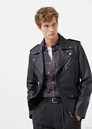 leather biker jacket by mango men s black