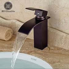 oil rubbed bronze waterfall spout bathroom vessel sink faucet deck mount single hole sanitary mixer taps and installation instructions