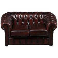 gorgeous red leather chesterfield loveseat