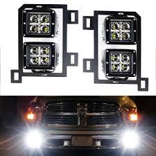 Fog Lights For Dodge Ram 1500 Dual Led Pod Light Fog Lamp Kit For 2013 18 Dodge Ram 1500 20w High Power Cree Led Cubes Foglight Location Mounting Brackets Wiring Harnesses