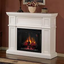 classicflame artesian 52 inch electric wall mantel fireplace with traditional infrared log set white
