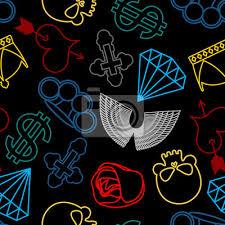 Nálepka Tetování Bezešvé Vzor Lebka A Boxery Rose A Srdce S šípem