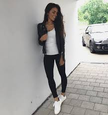 how to wear white knitted top with black leather jacket black leggings and white kicks