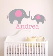 Baby Name Wall Designs Us 7 58 28 Off Personalized Girl Name Wall Sticker Elephant Wall Decal Baby Girl Name Design Kids Nursery Bedroom Decor Home Wall Mural Ay0109 In
