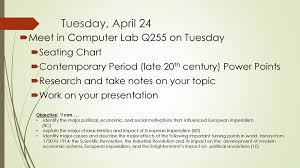 Tuesday April 24 Meet In Computer Lab Q255 On Tuesday