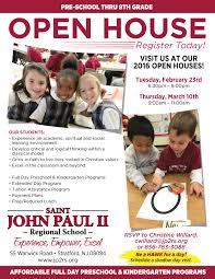 Open House Flyer Pk 8 R2 St John Paul Ii Regional School