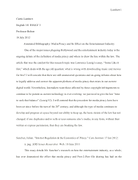 essay annotated bibliography rough draft  lambert 1curtis lambertenglish 101 essay 3professor bolton18 2012 annotated bibliography media piracy and its