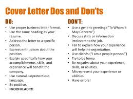 cover letter dos and don ts creating resumes and cover letters