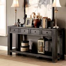 black sofa table with drawers. Furniture Of America Cosbin Bold Antique Black 4-drawer Sofa Table (Antique Black) With Drawers R