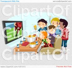 kids watching tv clipart. clipart group of teenagers watching a super bowl football game on kids tv