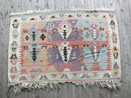 muted colors vintage kilim rug soft colors old turkish kilim rug small kilim rug
