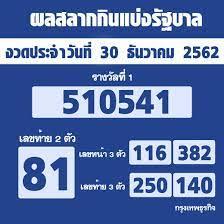 ผลสลากกินแบ่งรัฐบาล ตรวจหวย งวด 30 ธันวาคม 2562