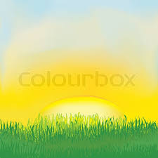 grass field sunrise.  Field Landscape With Sunrise Meadowgrasscloudy Sky  Stock Vector Colourbox And Grass Field Sunrise