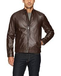 calvin klein brown leather moto jacket for men lyst