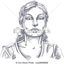 Vector Portrait Of Scared Woman Illustration Of Amazed Or Frightened Female Person Emotional Face Expression Surprise