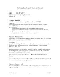 Printable Incident Report Template Sample Writing Example