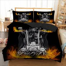3d skull fire halle moto cool duvet cover bedding set single twin full queen king size