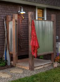 dishy galvanized light patio traditional with home corrugated metal shower