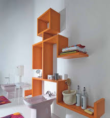 Small Picture Bathrooms Cool Bathrom With Orange Unique Wall Shelves Shower