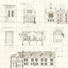 Estcourt Blueprint Wallpaper from University of Oxford by Brewster