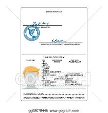 Identification Template Eps Vector International Passport Vector Opened Passport Page