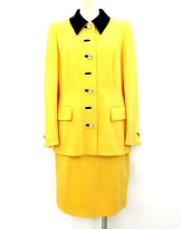 Escada Size Chart 100 Authentic Escada Womens 100 Wool Skirt Suit Yellow Made