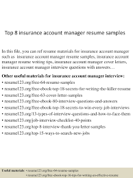 Top8insuranceaccountmanagerresumesamples 150514023349 Lva1 App6891 Thumbnail 4 Jpg Cb 1431570873