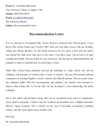 High School Recommendation Letter For Student Recommendation Letter From Dr Bencherab